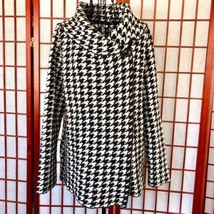 Ellen Tracy Cowl Neck Wool-Blend Houndstooth Knit